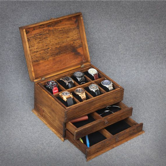 Personalized Rustic Men's Watch Box for 8 watches with double drawer