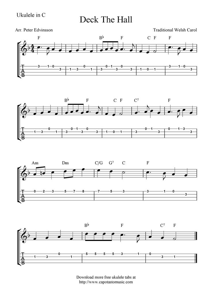 "✓""Deck the Halls"" (Title Says ""Deck The Hall) Ukulele Sheet Music - Free Printable"