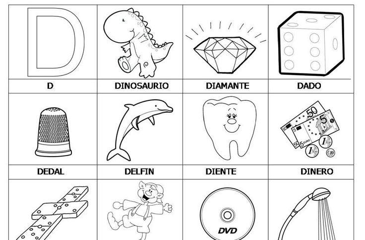 Laminas Con Dibujos Para Aprender Palabras Y Colorear Con Letra D Dibujos Letra D Palabras Con B Actividades De Letras