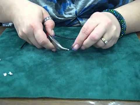 Nancy, our fabulous Beads Manager, will show you how to attach a clasp to a leather or satin cord to make a bracelet or a necklace. For more projects, visit ...