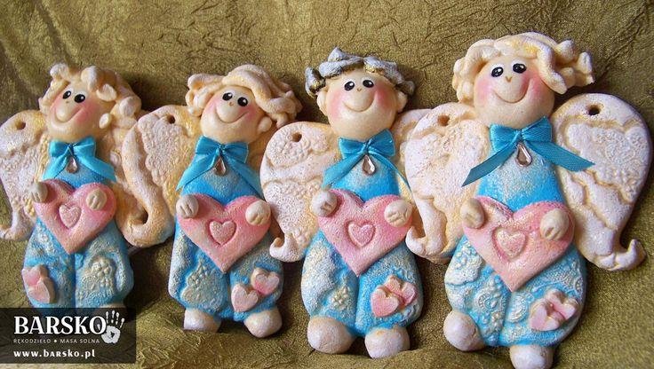 Aniołki Walentynkowe z masy solnej