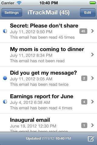 FREE!  Want to know if people are reading the emails you send? iTrackMail will let you know.