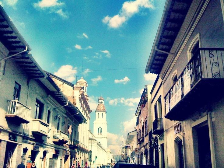 """Blue Street""- Gran Colombia Street  #Cuenca-#Ecuador #getapassport www.eliabroad.org"