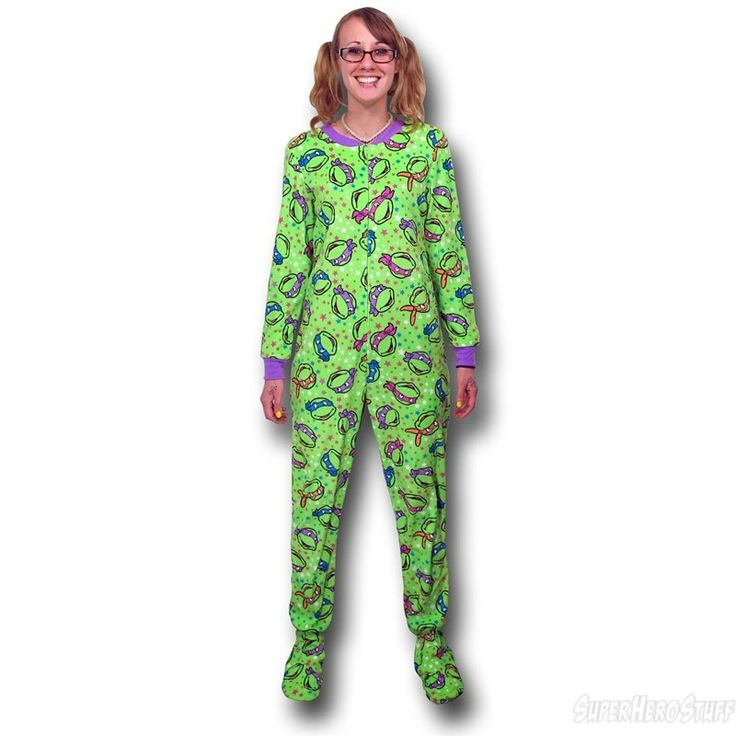 footie pajamas for women | TMNT Faces Women's Footed Pajamas (Sold Out)