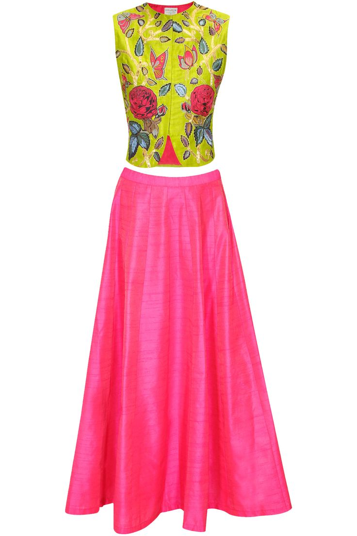 Lime green bird embroidered short jacket with pink skirt lehenga available only at Pernia's Pop Up Shop.#perniaspopupshop #shopnow #aharin #clothing #festive #newcollection