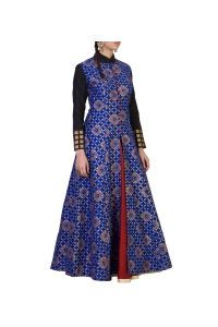 Blue Cotton Silk Printed Gown