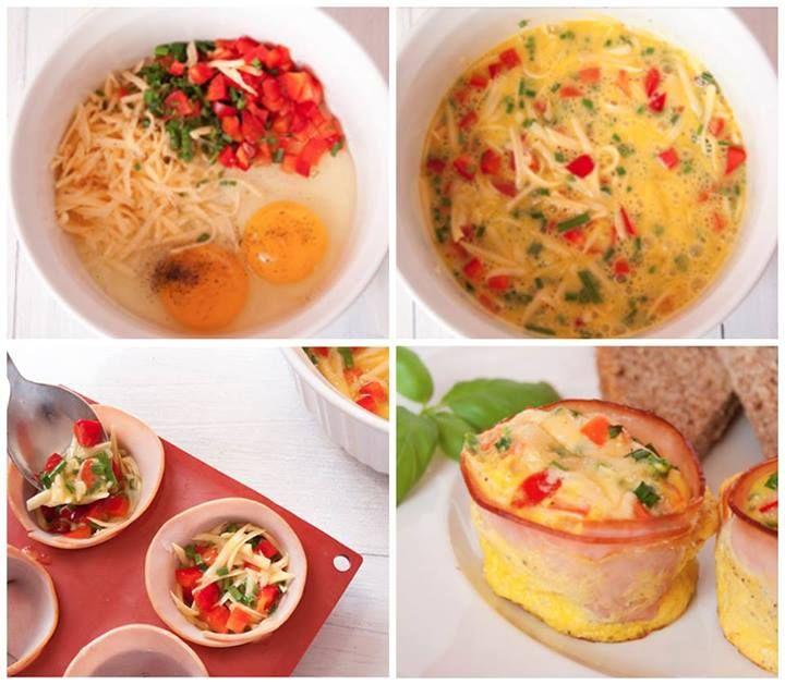 Omeletes :P  Via Decoração Criativa Misture dois ovos com queijo e tomate, com cebolinha e um pouquinho de pimenta à gosto. Coloque dentro do presunto, peito de peru ou bacon que está em forma circular em uma forma de cupckake. Coloque no forno ;)
