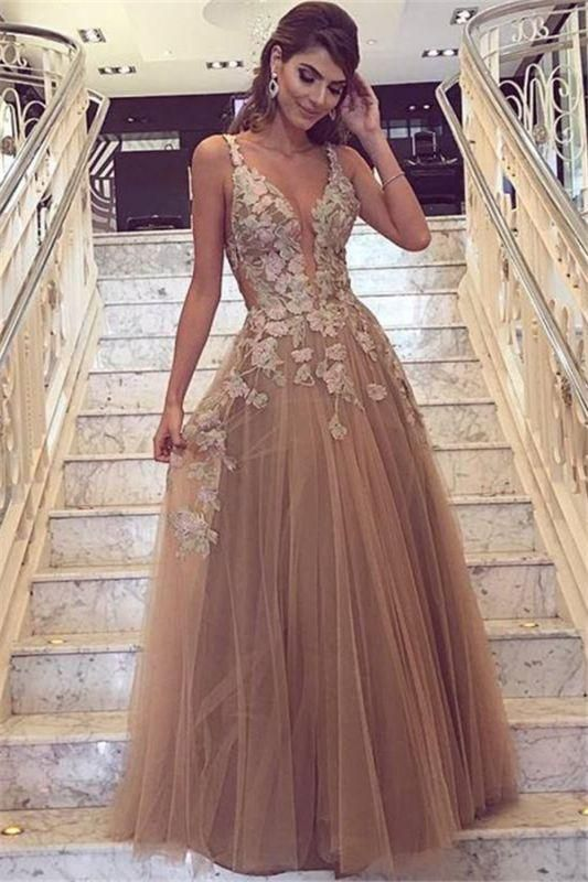 9136023362 Chic Champagne Tulle Prom Dresses