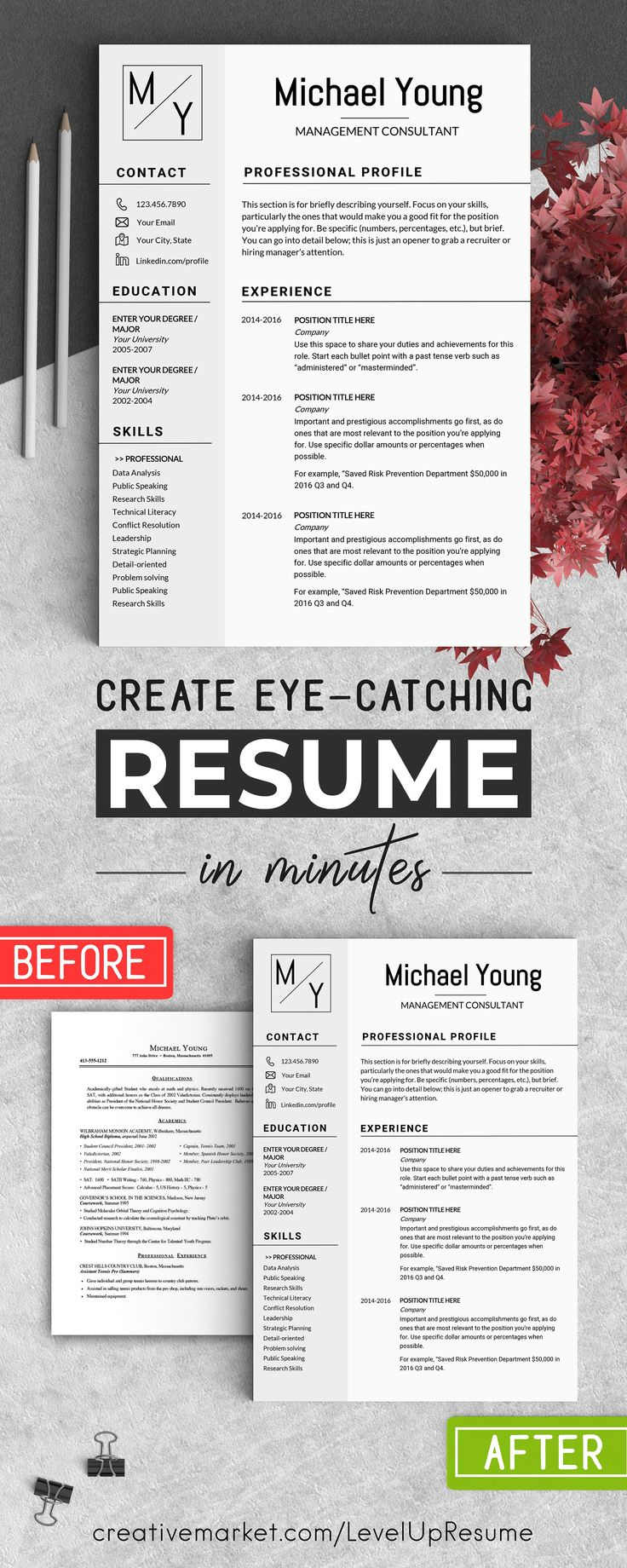 Professional Resume CV Template by LevelUpResume on @creativemarket #ad #resumes #career #interviews