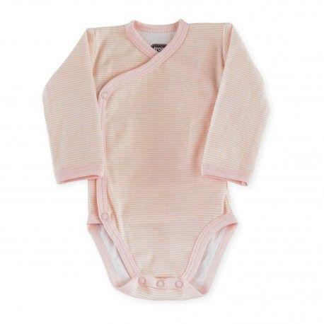 Body bébé fille croisé à rayures rose #Kinousses