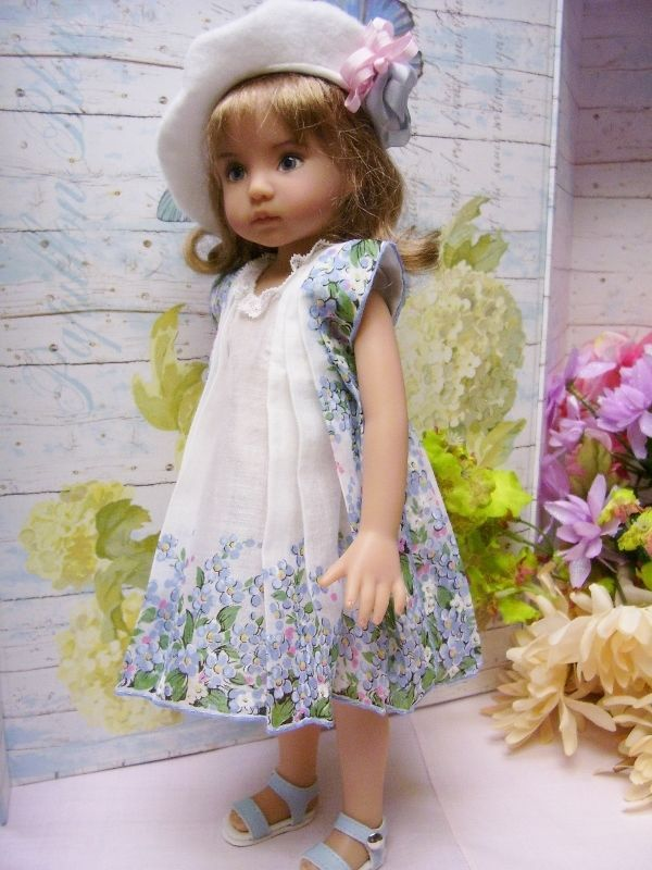 "Effner 13"" Little Darling  ""Painted Flower"" Hanky Dress and Embroidered Beret"