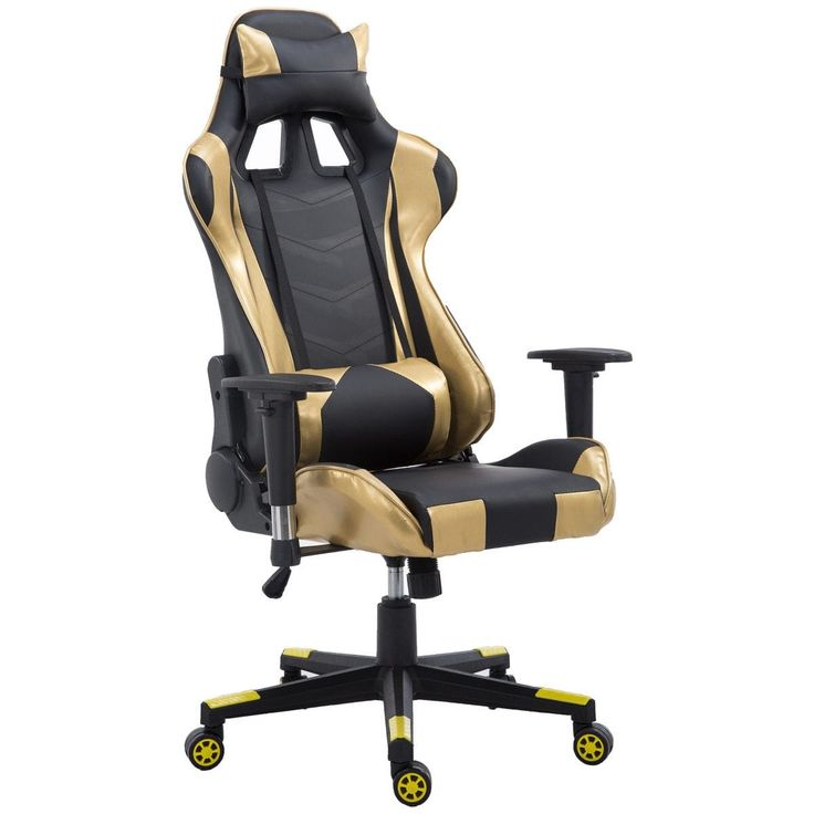 Costway Executive Gaming Chair Racing Office Chair High Back w/Lumbar Support & Headrest, Gold