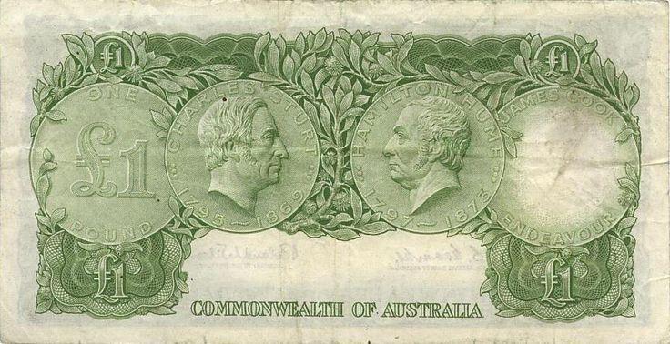 Australian pre-decimal £1 note - Back.