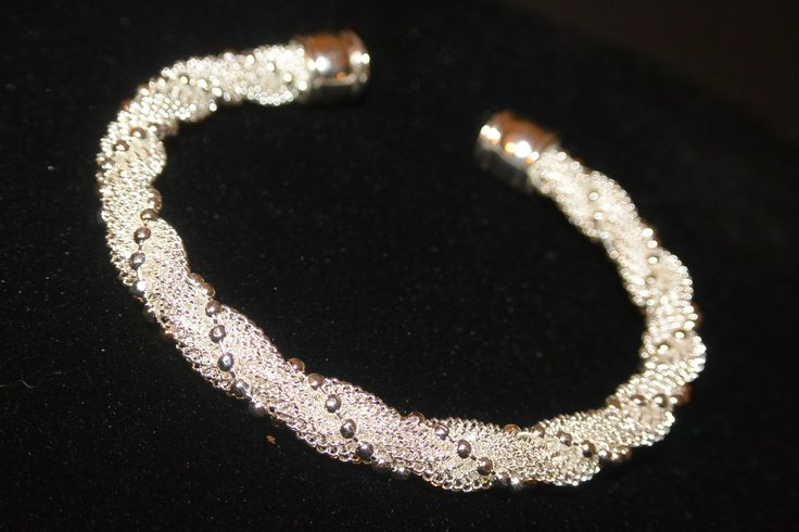 Twisted mesh cuff bracelet swirled with a chain (Also available with solid swirl) So stunning! only $20!!
