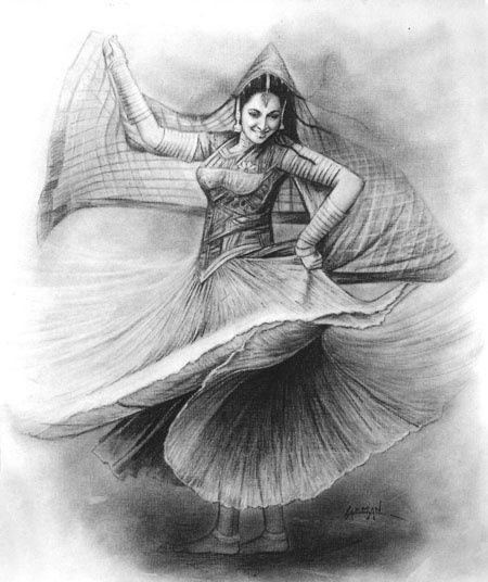 Dancing moods drawing in by laxman kumar artist delhi drawing other