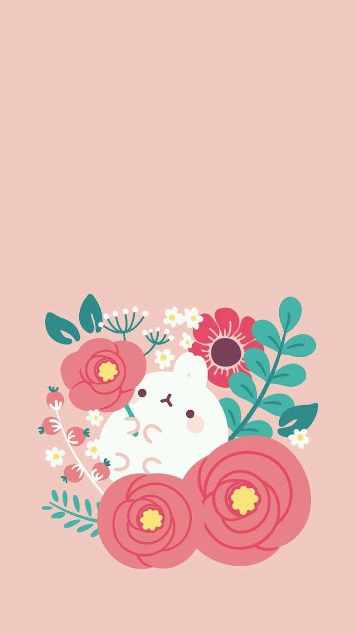 Spring Flowers Background White Bunny Drawn Flowers Orange Background Phone Wallpaper Spring Wallpaper Flower Drawing Cute Wallpaper For Phone