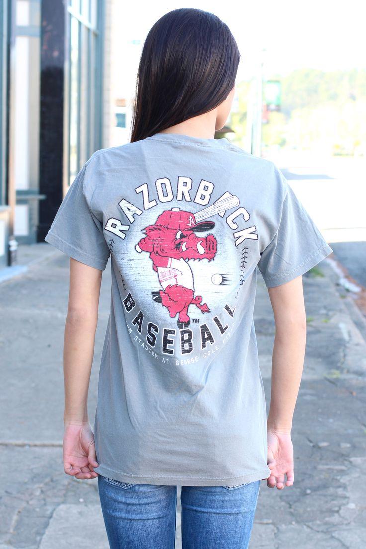 Ribby Razorback Baseball Tee {Grey}