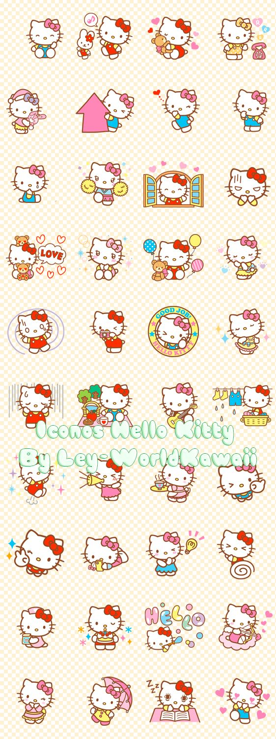 Ley-WorldKawaii: Pack Iconos Hello Kitty Set 3, iconos hello kitty