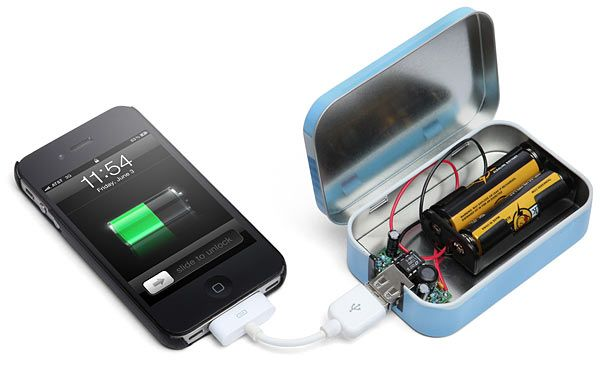 Build your own portable phone charger.    And my husband's smart enough to do this, yay!!!