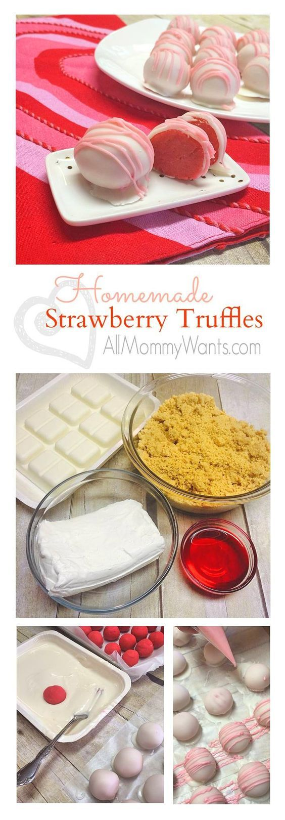 Homemade Strawberry Truffles - These are amazing and so easy to make for Valentine's Day!