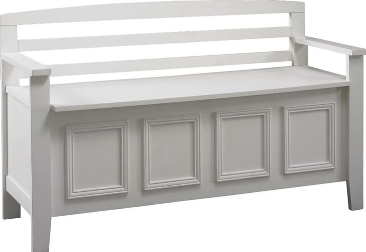 Flip Top Storage Bench Traditional Wooden Living Room Furniture In White New #bench