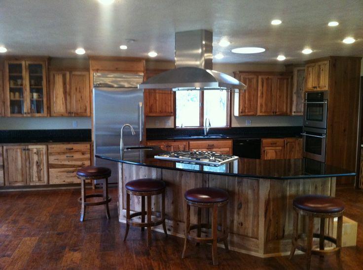 Light Hickory Cabinets Black Countertops Premium