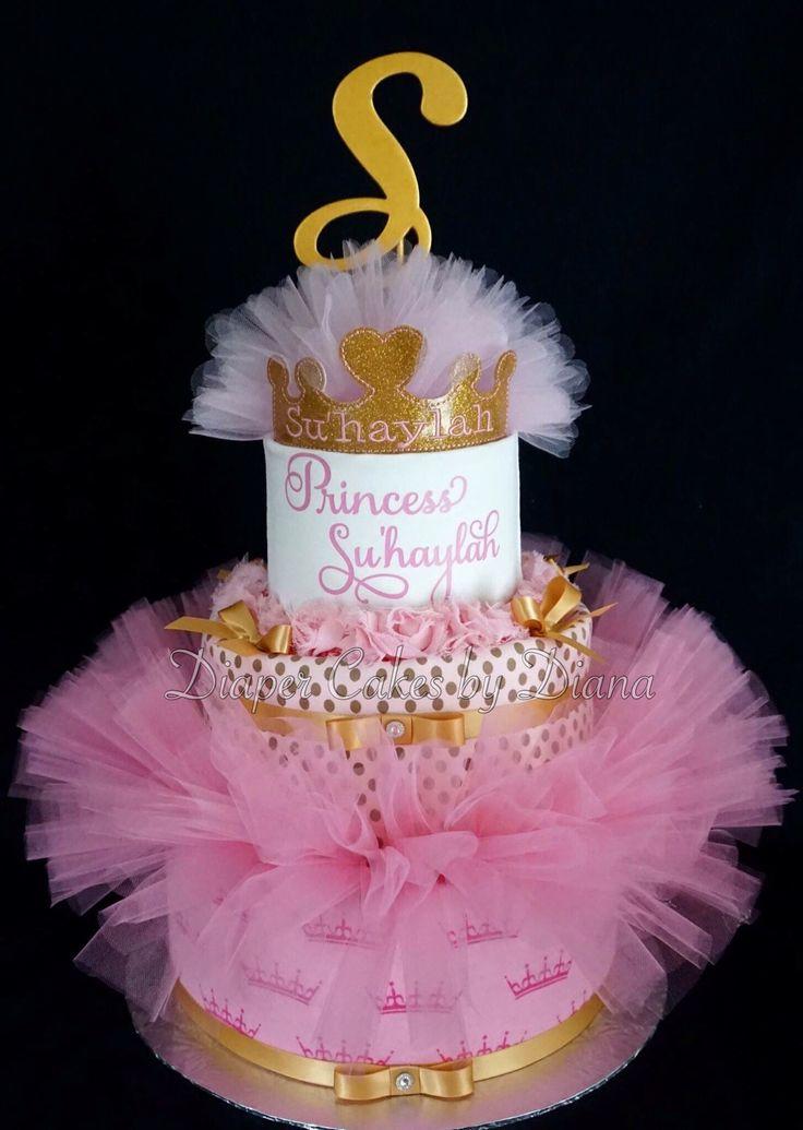 Beautiful Tutu Princess Diaper Cake Www.facebook.com/DiaperCakesbyDiana More