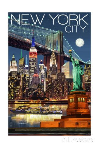 New York City, NY - Skyline at Night Art by Lantern Press at AllPosters.com