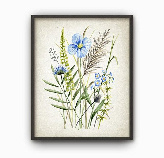 Blue Wild Flowers Watercolor Wall Art Print Field Plants Painting