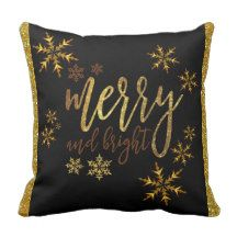 "Christmas Throw Pillow - Gold & Black - 16"" x 16"""