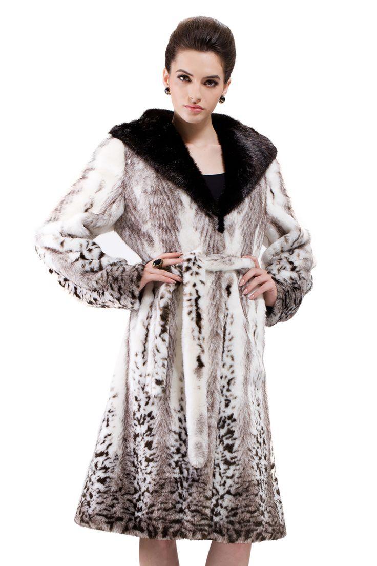 Vintage Mink Faux Fur Coat Full Length & Snow Leopard Print