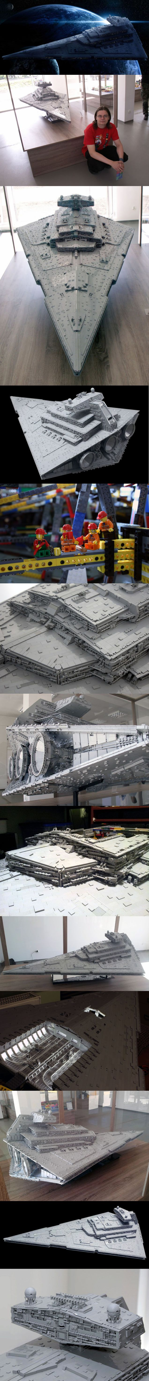 Ivette!!!! Can I????    The biggest, most accurate Lego Imperial Star Destroyer ever built More than 40,000 bricks. 110 pounds (50 kilograms). 6.62 feet long (2.02 meters). 4.1 feet wide (1.25 meters). 1.9 feet tall (58 centimeters). Eight months of design and building. Those are the stats for the biggest, most accurate Lego Imperial Star Destroyer ever built.