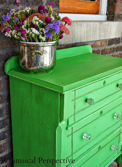 A small dresser finished with Antibes Green Chalk Paint® decorative paint by Annie Sloan | By Whimsical Perspective