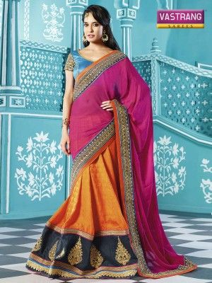 Orange and Pink Jacquard Georgette saree with blouse