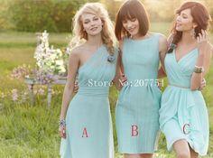 Livraison gratuite courte une épaule honneur robe Mint 2015 Tenue de soirée de mariage bon marché pour Mint Green demoiselle d'honneur(China (Mainland))
