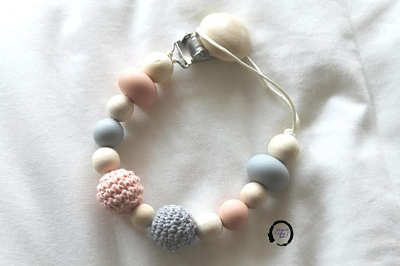 Pacifier clip  Wood crochet and silicone beads  Baby shower