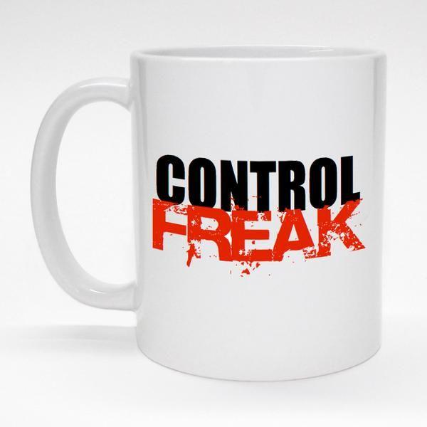 """Control Freak"" funny ceramic coffee mug.  Made to order and dishwasher safe."