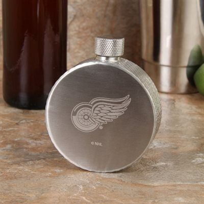 Detroit Red Wings Hockey Puck Flask - Silver (I NEED THIS)