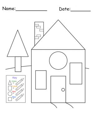 Color the right shape on the house