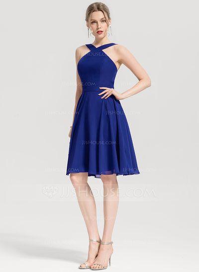 18a7d040658 A-Line Princess V-neck Knee-Length Chiffon Homecoming Dress ...