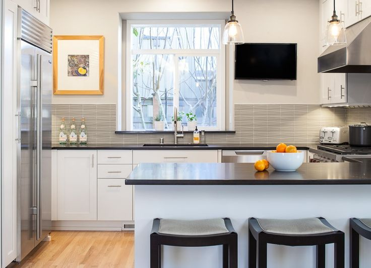 Gray and white kitchen. Love the splash and lights http://www.zillow.com/digs/Model-Remodel-boards/Kitchens/
