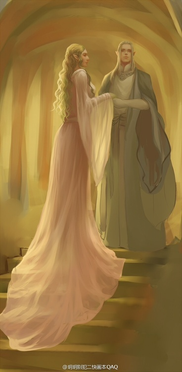 Galadriel and Celeborn in what looks like Mirkwood.... It may be Lothlorien though.