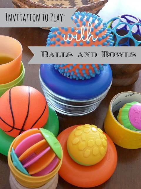 Invitation to Play - balls and cups (small parts play example)