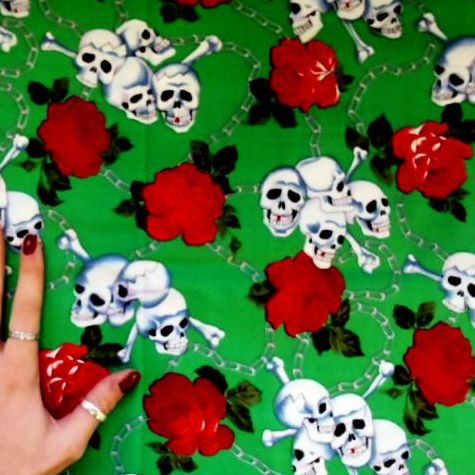 Skull Chained Rose Cotton Fabric