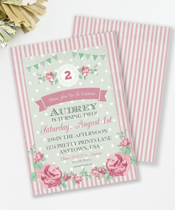 Best Shabby Chic Party Ideas Images On Pinterest Candy - Vintage girl birthday invitation