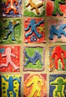 6th Grade, Clay tiles, Keith Haring style