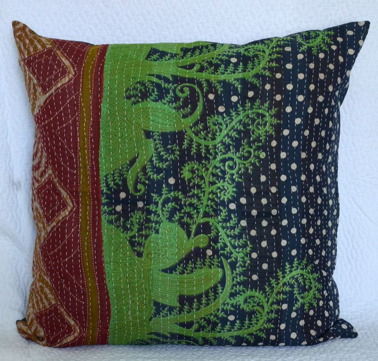 """24"""" KANTHA VINTAGE PILLOW CUSHION COVER THROW Ethnic Decorative Indian Textile #Handmade"""