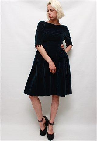 Vintage+80's+Beautiful+Elegant+Velour+Navy+Blue+Dress