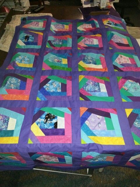Single bed quilt.   Wacky quilt pattern adjusted slightly   11 inch blocks