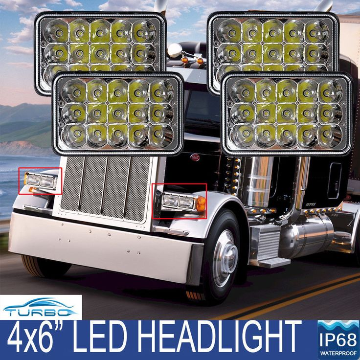 4x LED Sealed Beam HEADLIGHTS For Peterbilt Rectangular Headlights 379 378 357 #Motorautolight